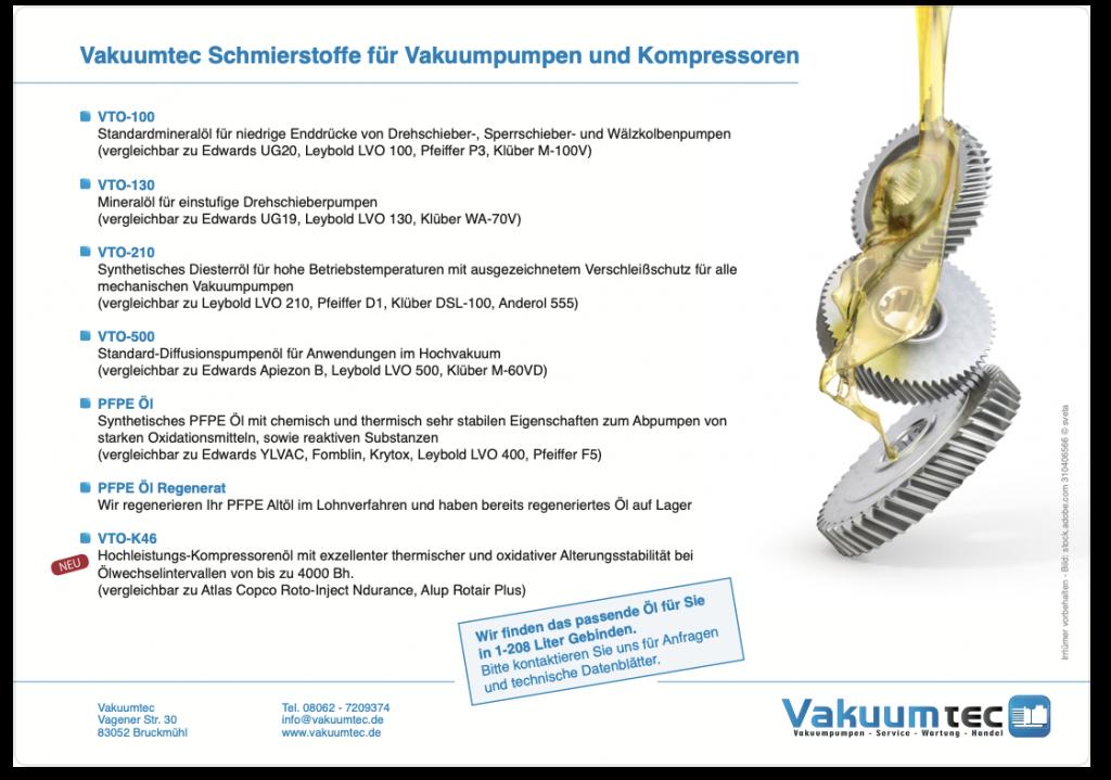 Vakkumtec Schmierstoffe Überblick Flyer PDF